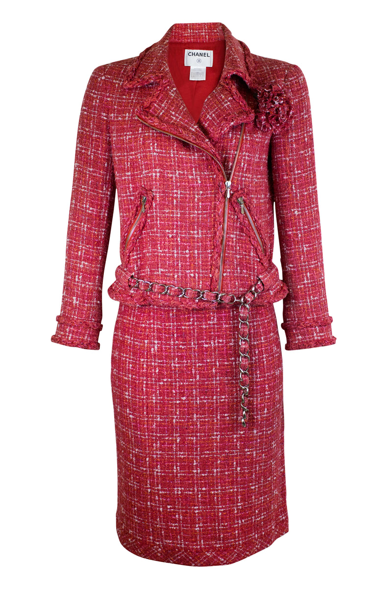 Chanel Tweed Jacket Biker Style Costume Red Silver Chain