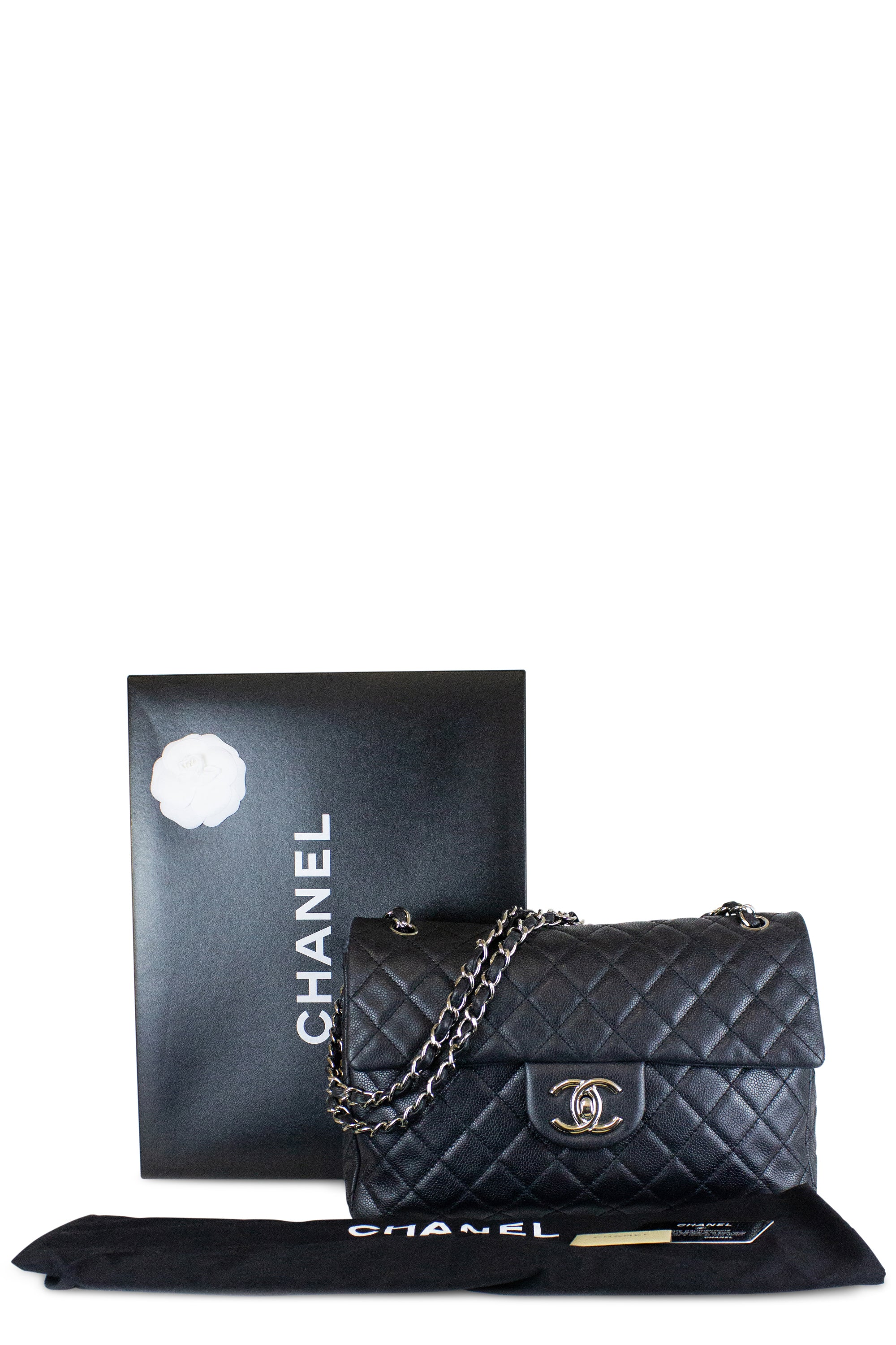 Chanel Jumbo Caviar Leather One Flap Bag Black Silver Hardware