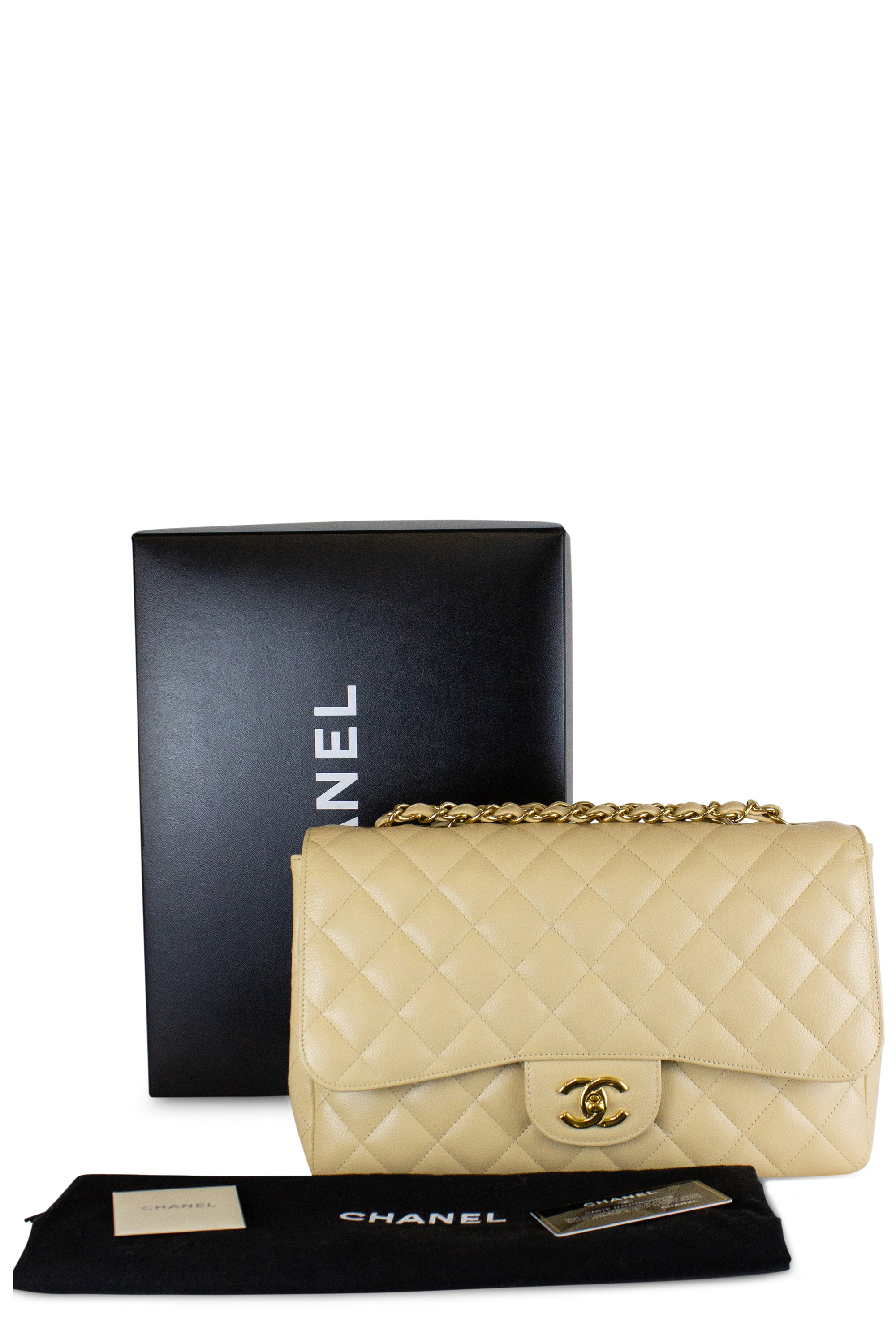 Chanel Jumbo Caviar Leather One Flap Bag Beige Gold Hardware