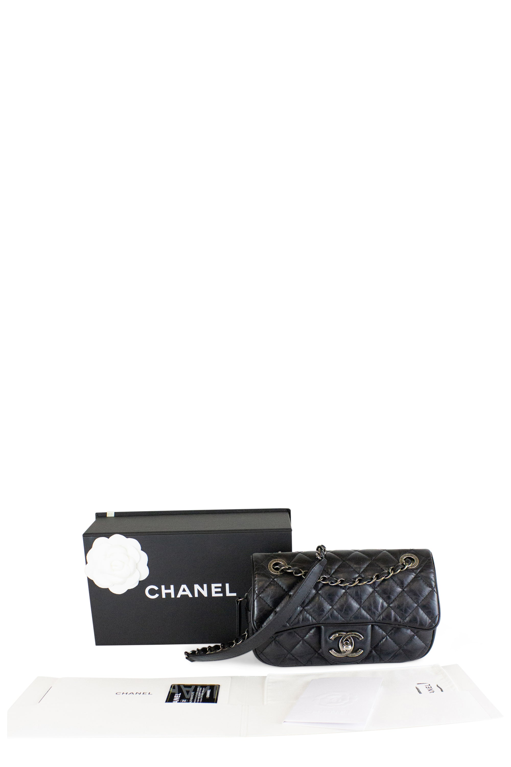 Chanel One Flap Crossbody Bag with Zipper Black