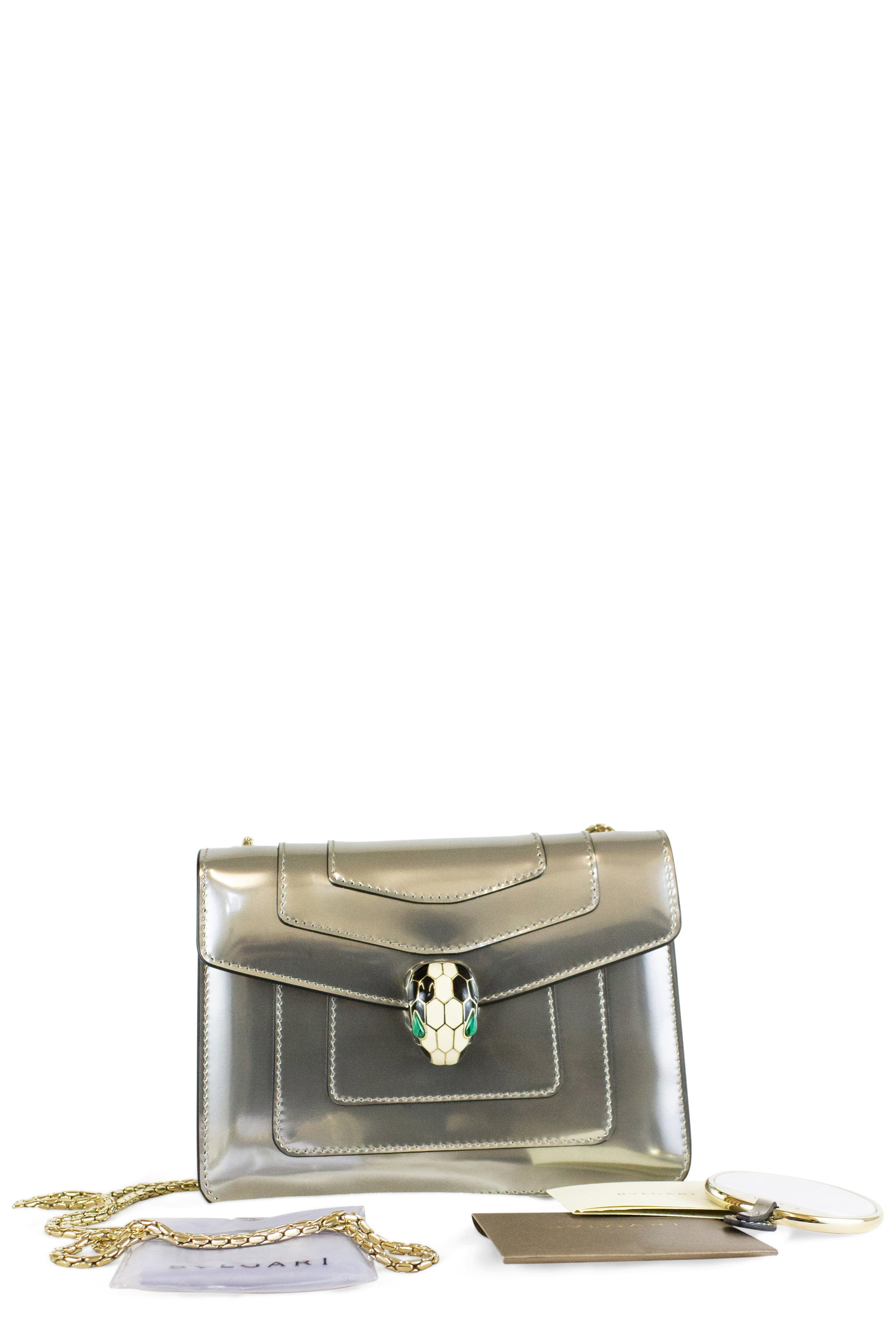 Bvlgari Flap Cover Bag Serpenti Forever Silver