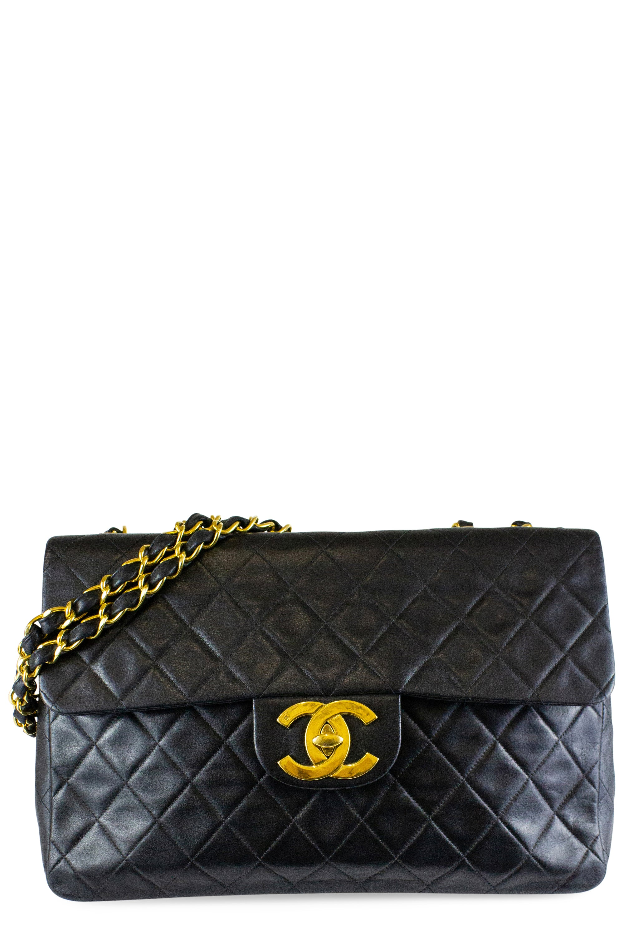 Chanel Vintage Maxi Flap Bag Black Gold Hardware