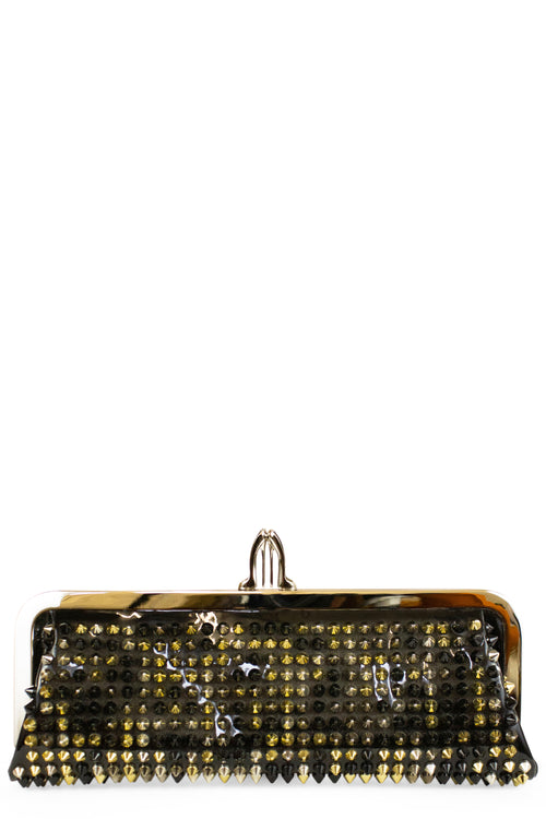 Christian Louboutin Clutch Spikes Miss Loubi Black Patent Leather Frontansicht
