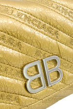 BALENCIAGA Gold BB round Leather Handbag