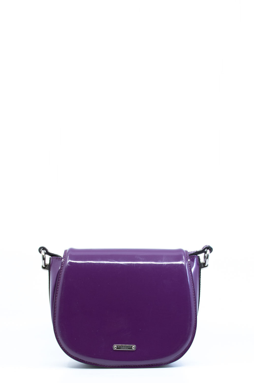 Burberry Lackleder Crossbody Tasche in violett.