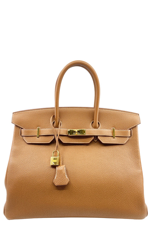 HERMÈS Birkin 35 Togo Brown Gold