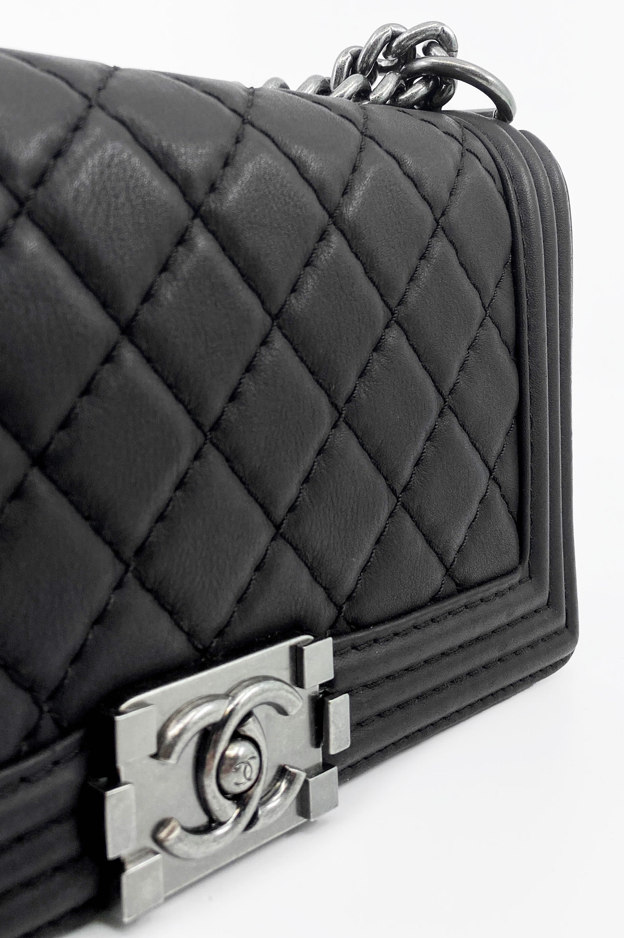 CHANEL Boy Bag Black Calf Leather