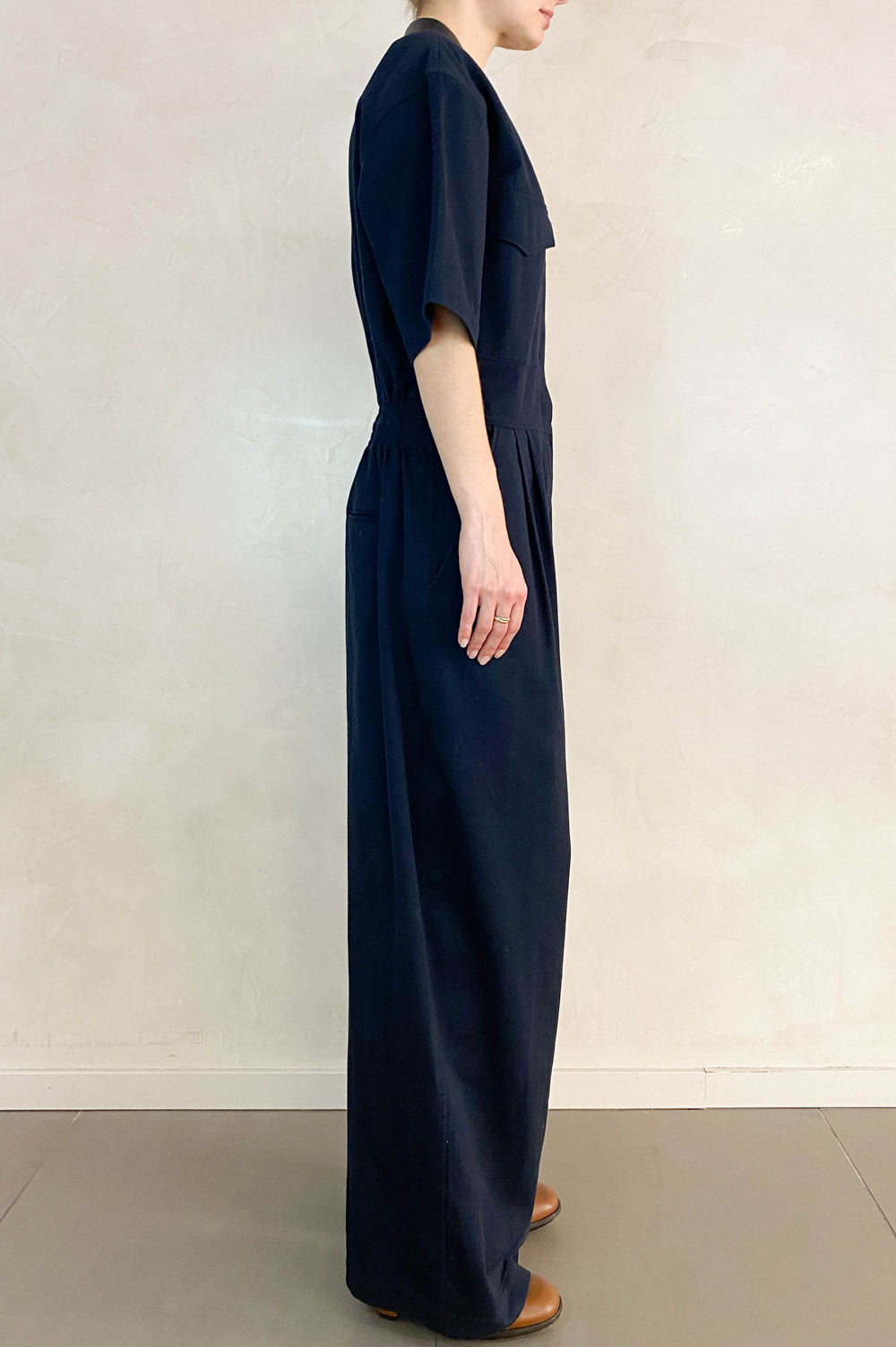 CÉLINE Jumpsuit Navi Leather Collar
