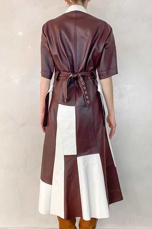 CÉLINE Dress Leather Bordeaux/White