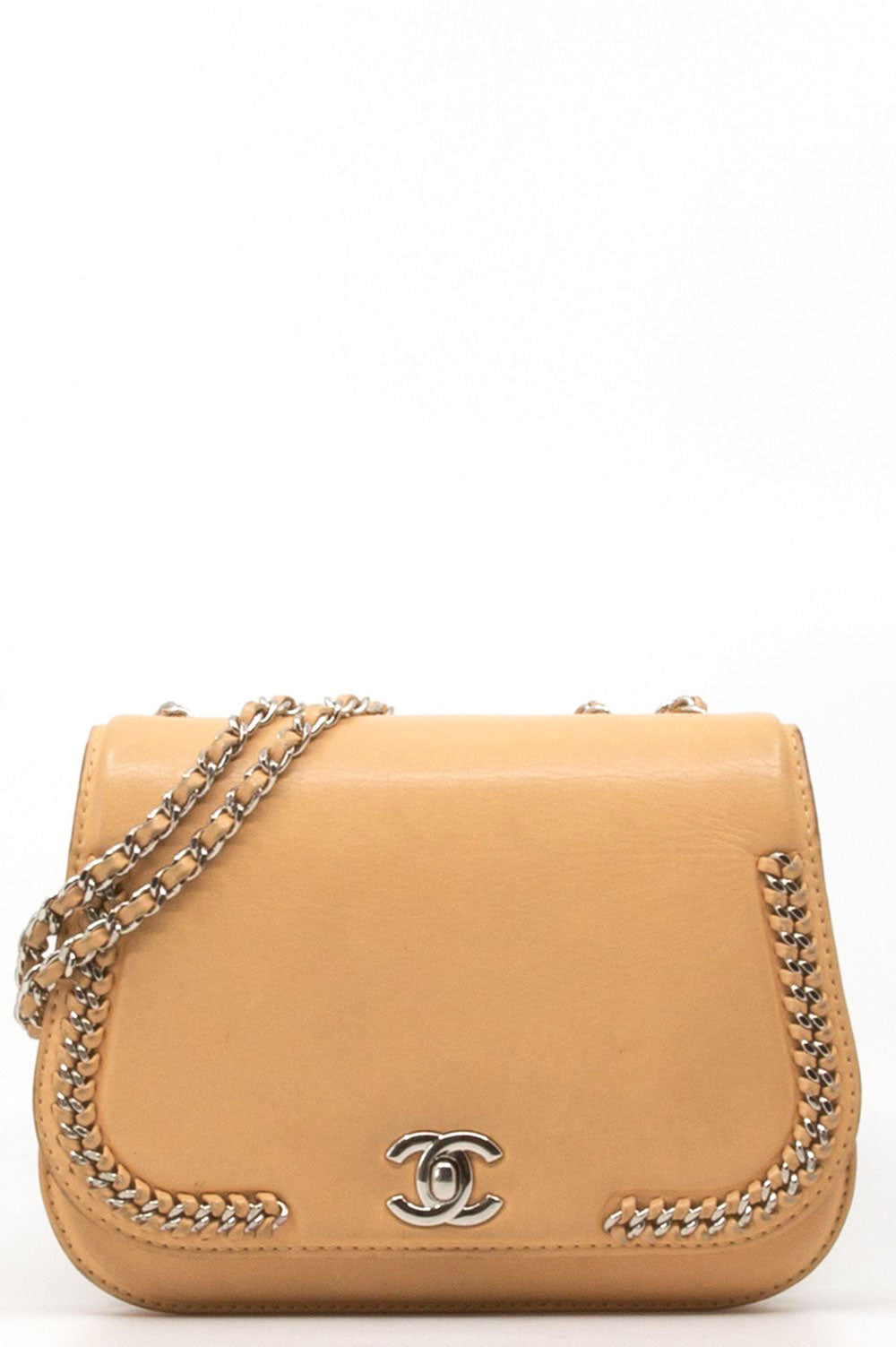 Chanel Flap Chain bag in Beige.