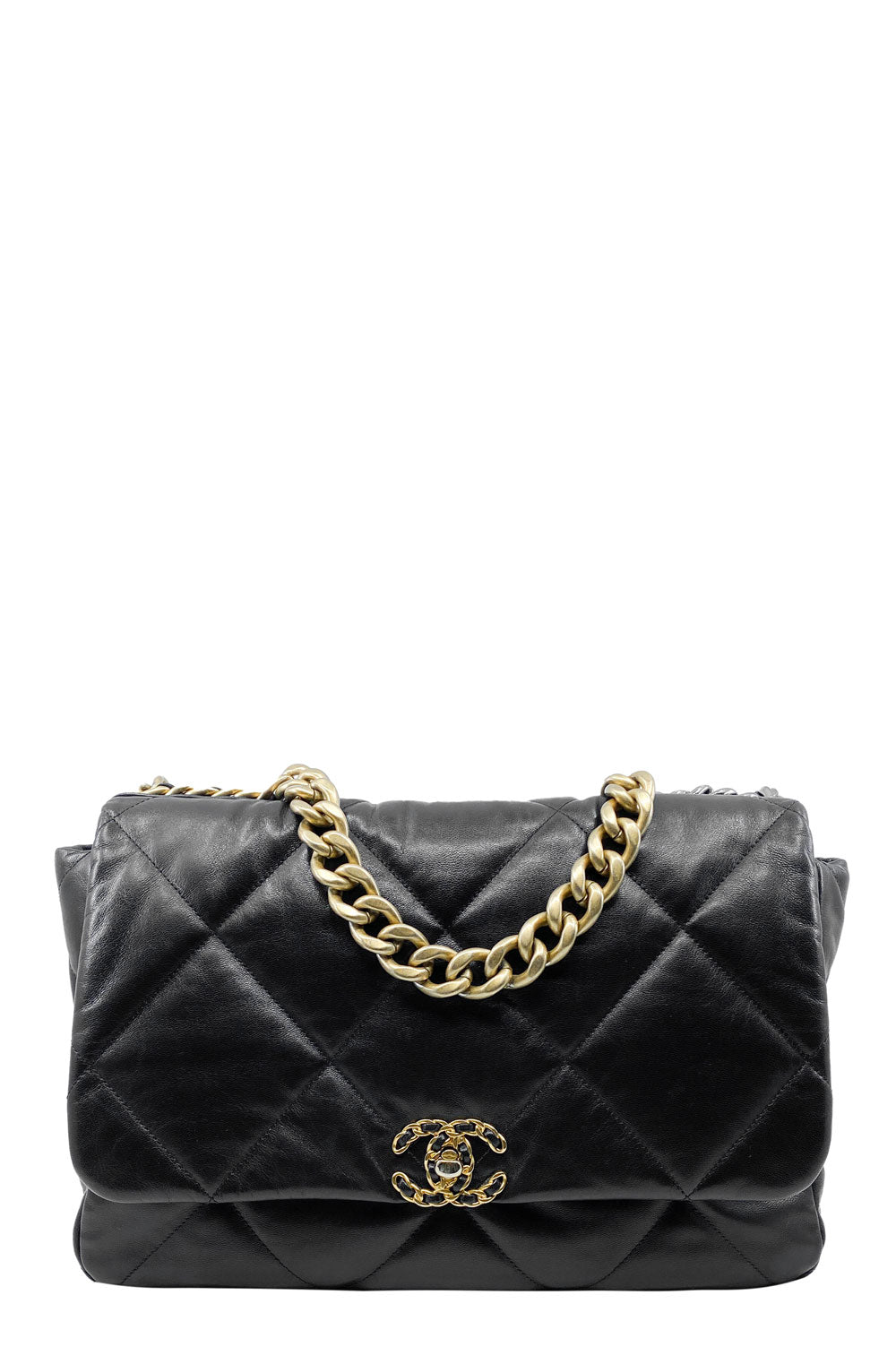 Chanel 19 Large Goatskin Black Frontansicht