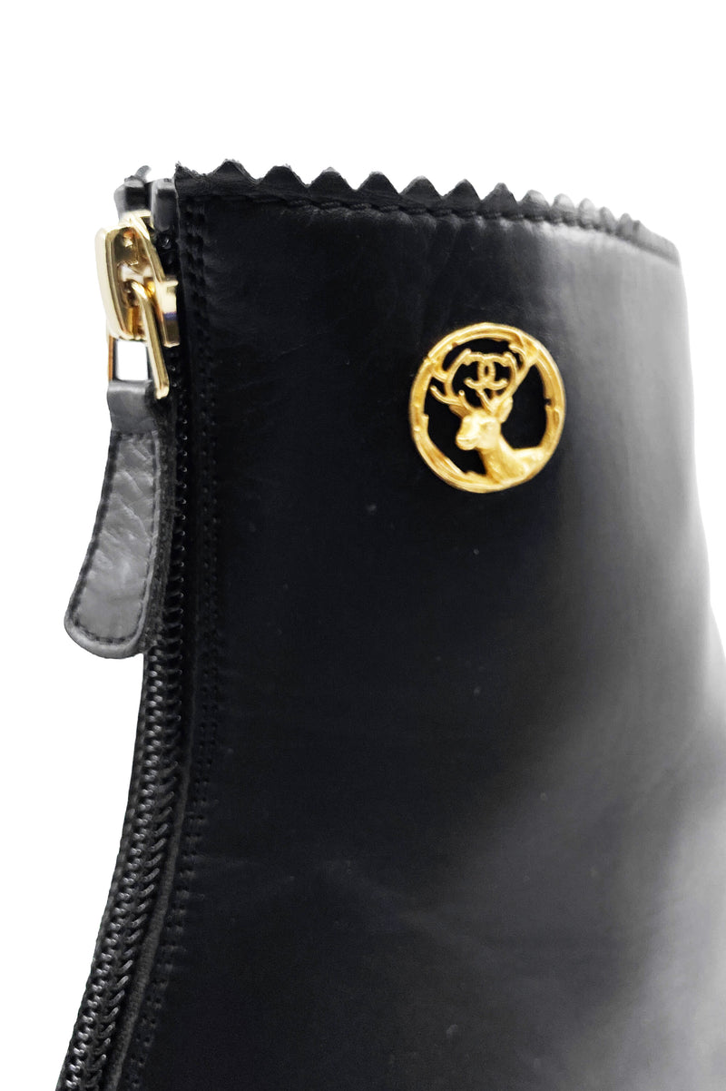 CHANEL Ankle Boots with Gold Heel