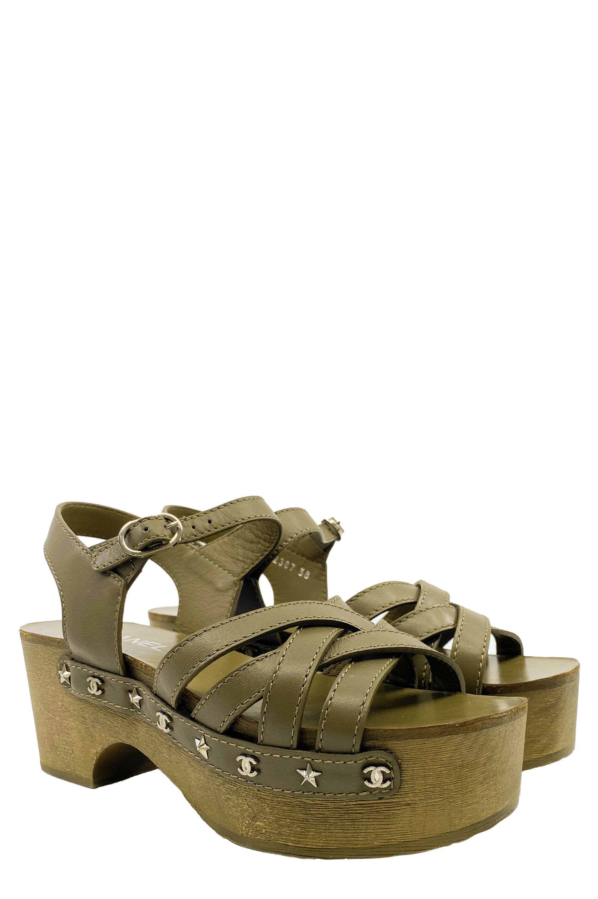 CHANEL Sandal Clogs Green