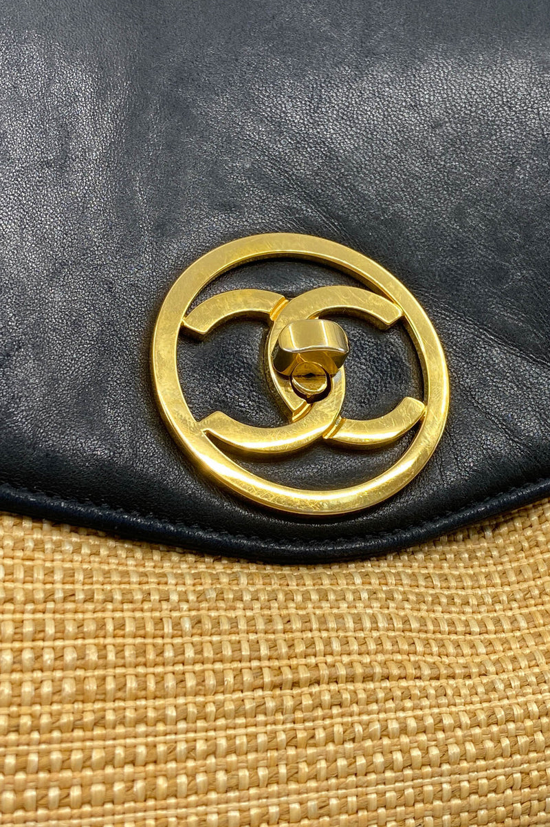 CHANEL Vintage Backpack Leather&  Raffia
