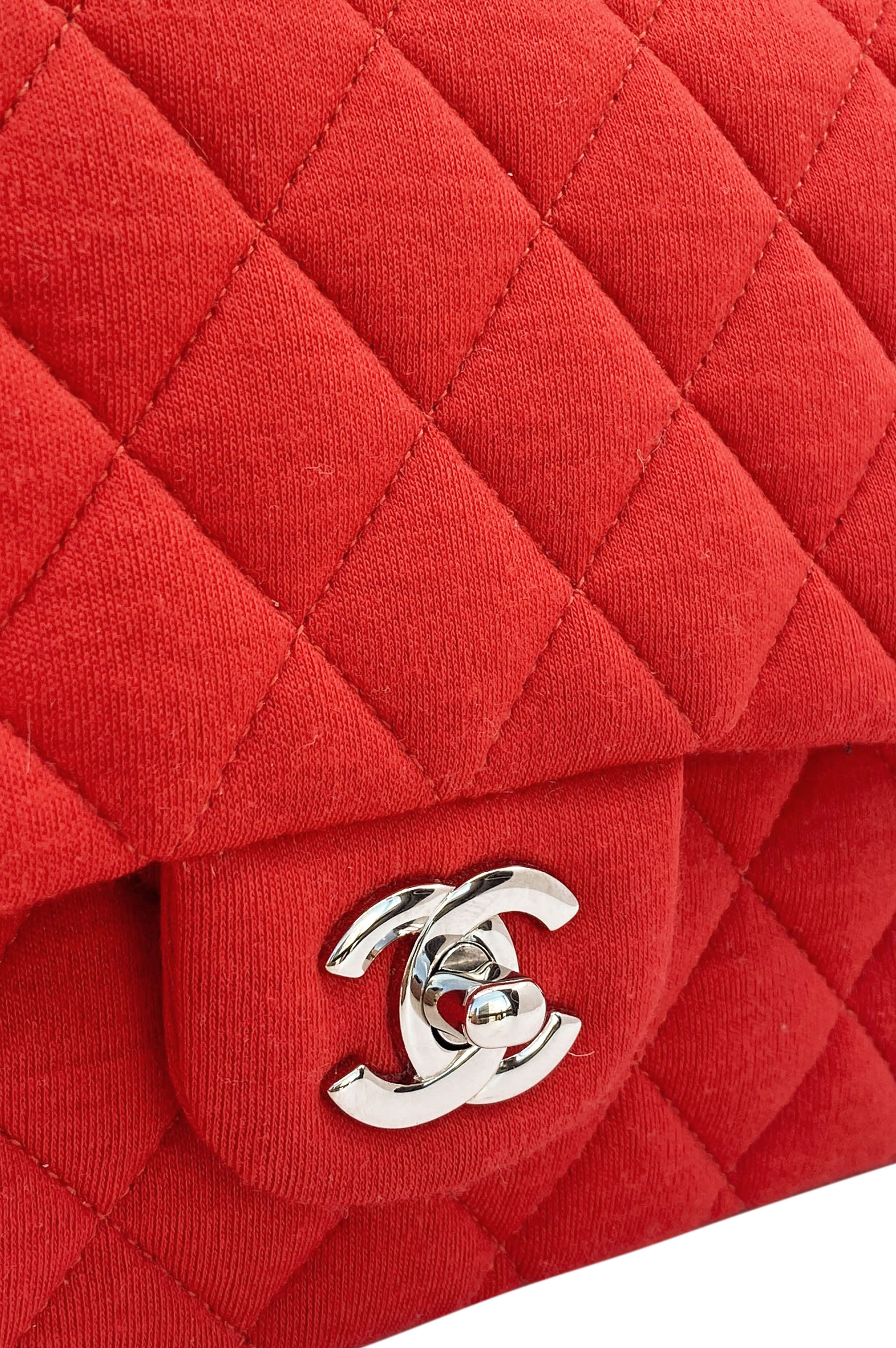 CHANEL Double Flap Jersey Red