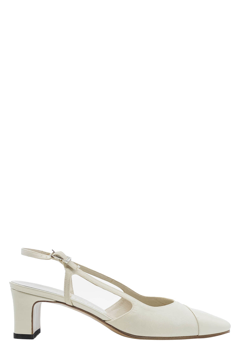 CHANEL Sling Pump Satin Off-White