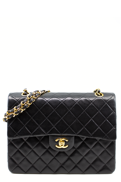 Chanel Flap Bag Black Square Frontal Ansicht Schwarz