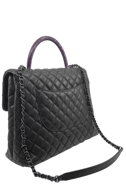 CHANEL Coco Handle Caviar Bag Black