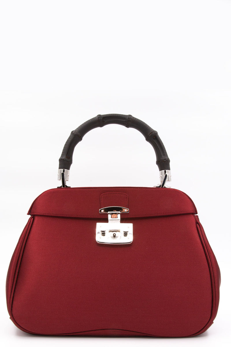 Gucci Bamboo Lady Lock in Bordeaux Samt.