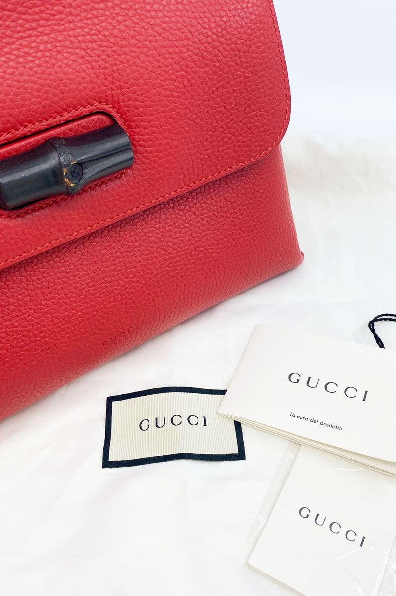 GUCCI Small Bamboo Daily Top Handle Bag Red