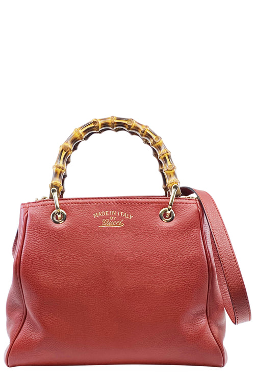 GUCCI Bamboo Shopper Tote Bag Red