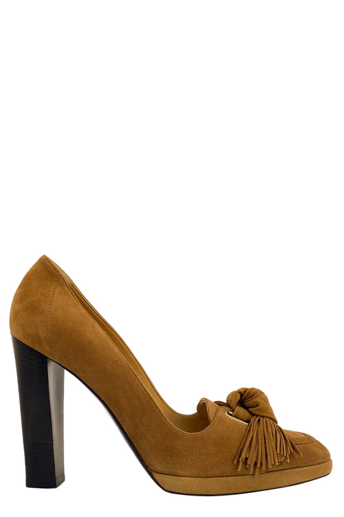HERMÈS Pumps Suede Brown with Tassels