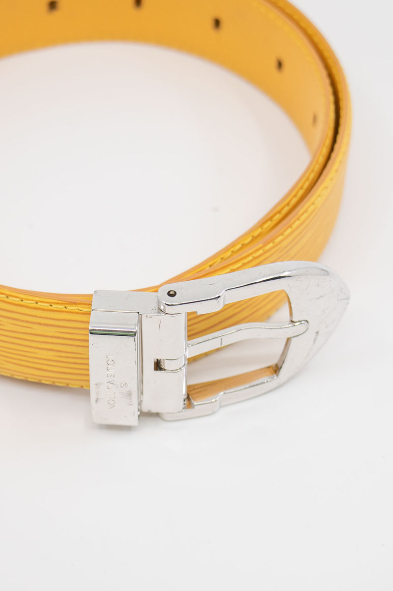 LOUIS VUITTON Belt Epi Leather Yellow
