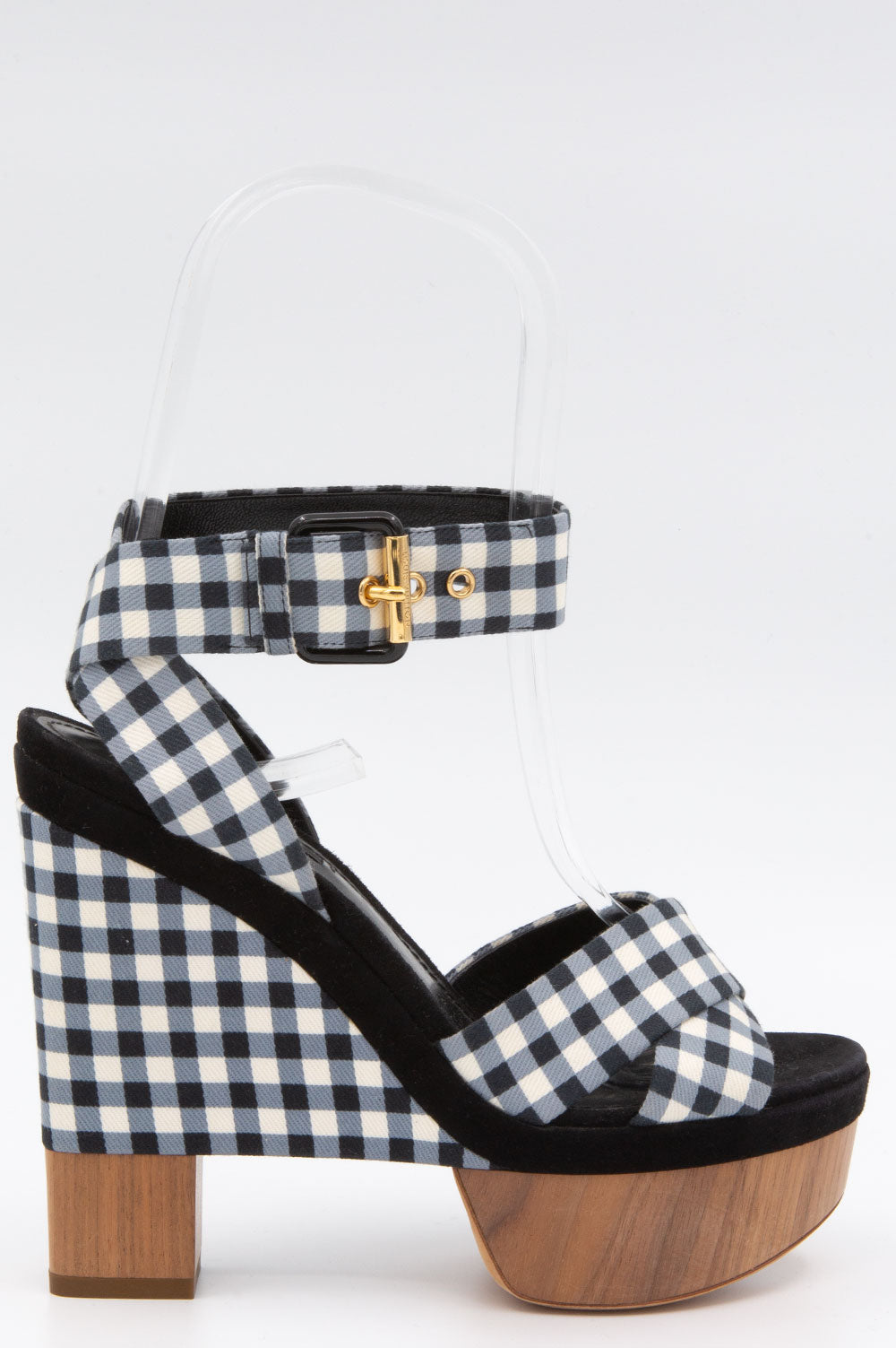 Louis Vuitton Gingham Heels in Schwarz-Weiss.