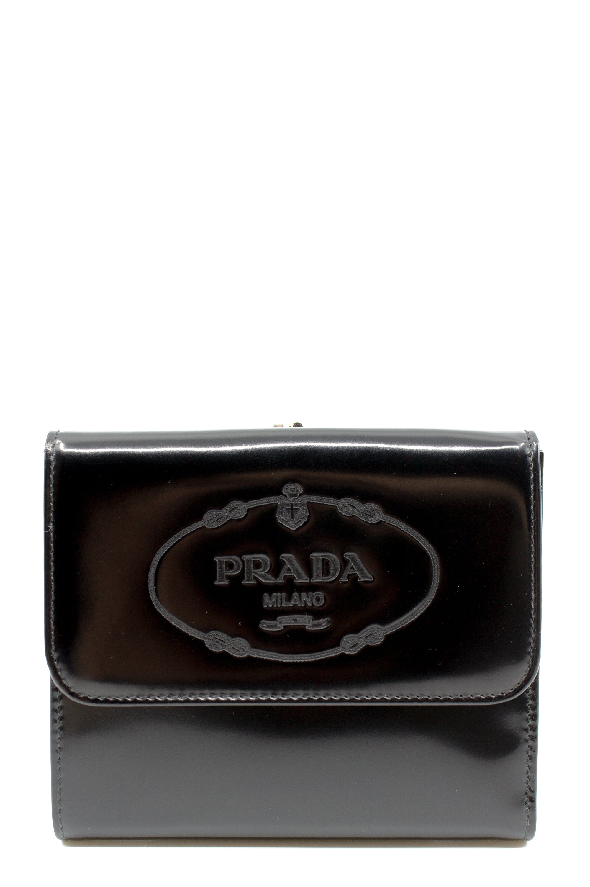 Prada Patent Leather Wallet Frontal Ansicht Schwarz