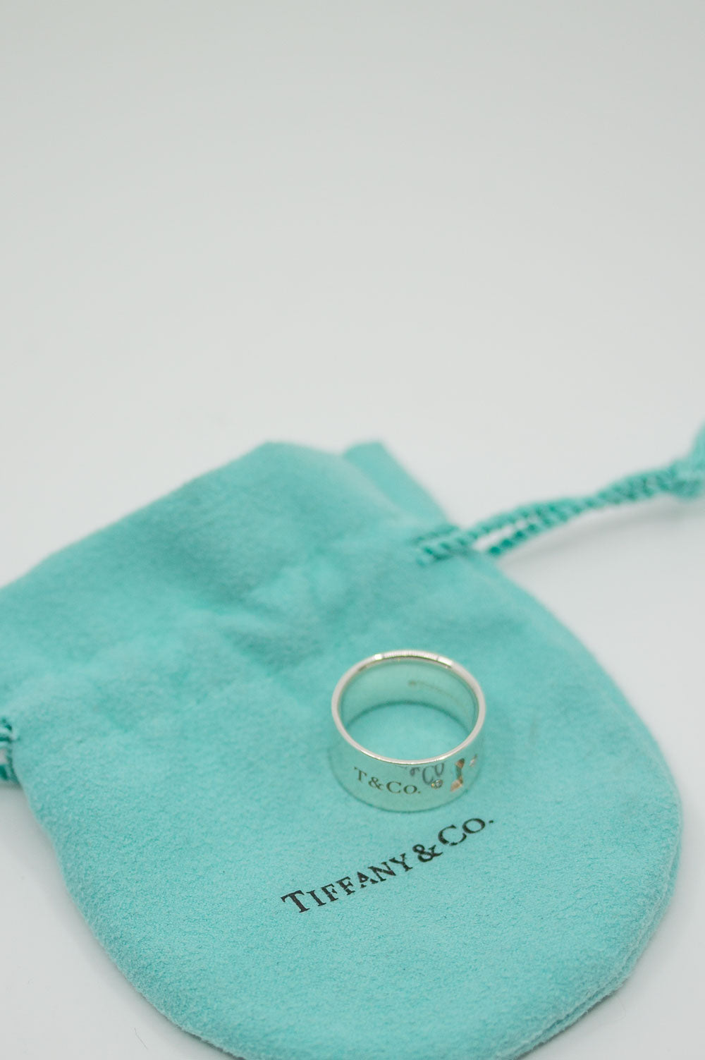 TIFFANY&CO. Ring Keyhole Silver with Diamonds