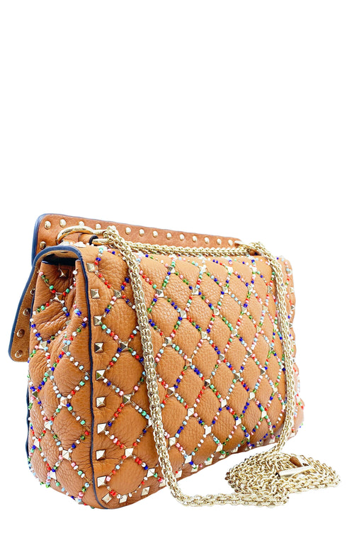 VALENTINO Rockstud Spike Medium Bag Rhombus Beads Cognac