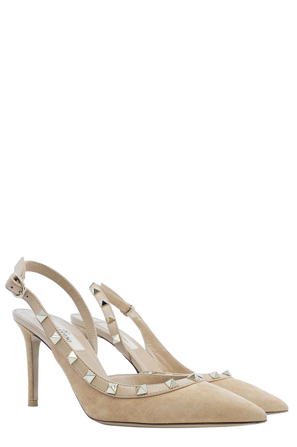 VALENTINO Rockstud Heels Suede Leather Camel