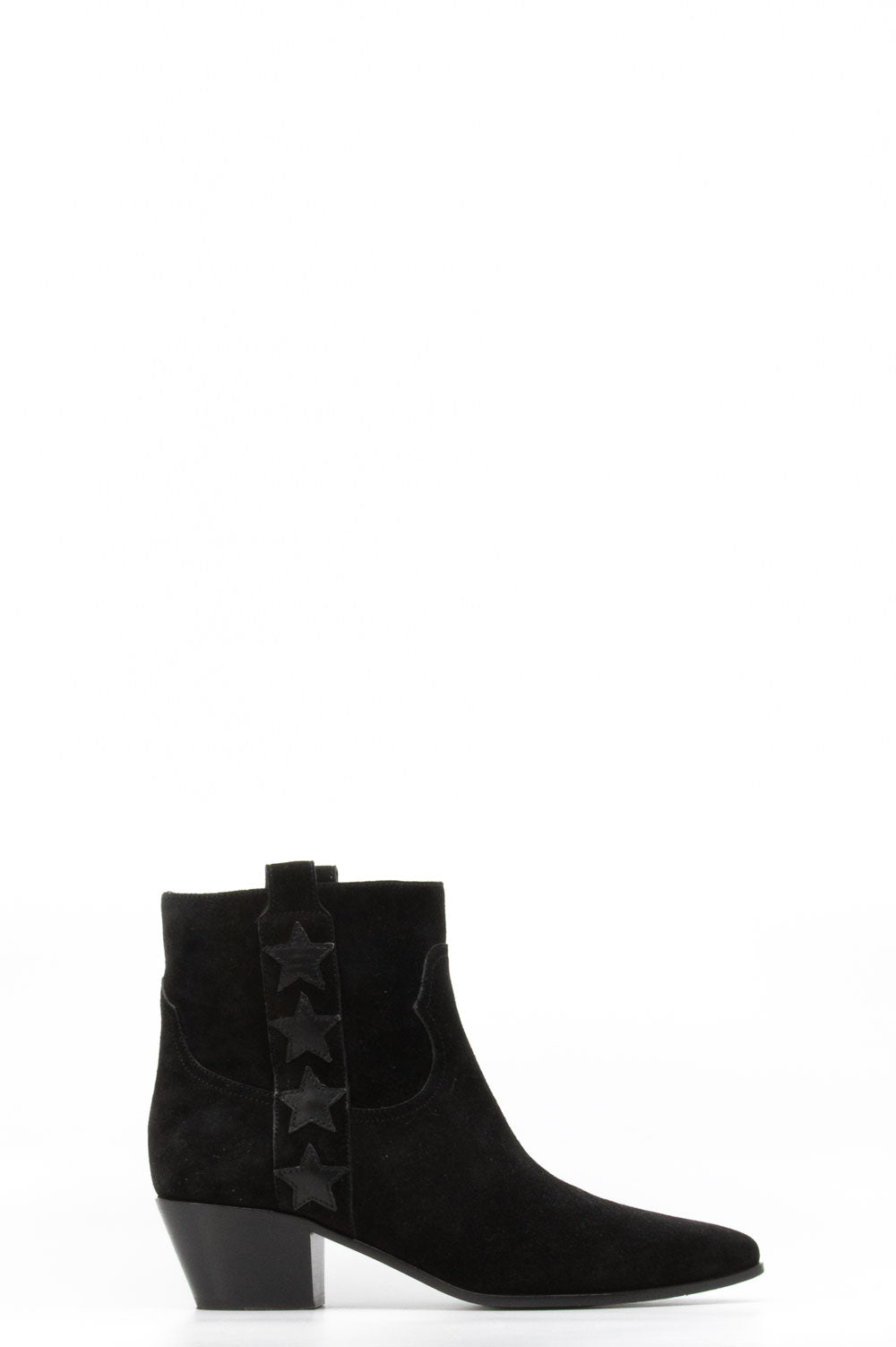 Saint Laurent Bootie in schwarzem Wildleder.