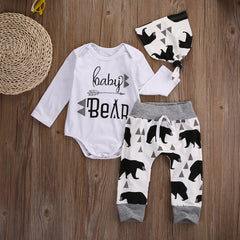 Happy Baby Boys & Girls 3pc Long Sleeve Letter Tops Romper+Bear Pants and Hat