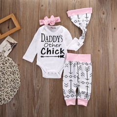 Happy Baby Girl 4pc T-shirt set -  Daddy's Other Chick Printed Long Sleeve Romper Tops with Cotton Pants Hat and Headband