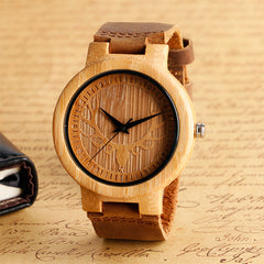 Men's Style Accessory - Elk Deer Caving Wooden Wrist Watch Genuine Leaher Quartz Watches Handmade Creative Wood Bamboo Clock For Men