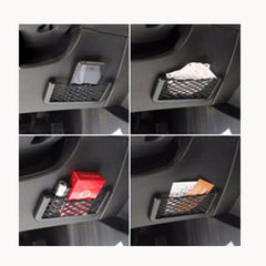 Auto Net Organizer Cage - 15X8cm Automotive Pockets Adhesive Storage Net GPS Phone Holder Pocket