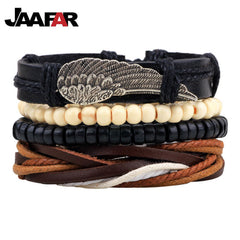 4pc  Braided Cuff Vintage Punk Bracelet Sets - Adjustable Leather Jewelry