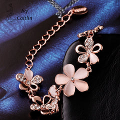 IVY Collection - Classic Flower Rose Gold Plated Bracelets With Rhinestone Nickle-Free Size Chain Length 20cm