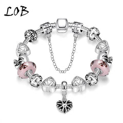 Style Accessory Antique Silver Plated Heart Charm Bangle & Bracelet with Love Pink Crystal Murano Bead fit Snake Chain for Women