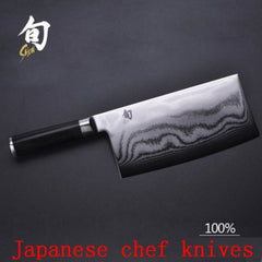"Shun Professional 7"" inch Damascus Chef's Cleaver - 73 layers of High Quality Japanese Steel with Wood Handle"