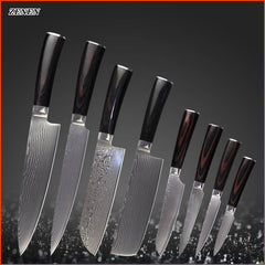 "ZEMEN Damascus Stainless Steel Kitchen Knives (two sets) 8"" chef slicing; 7"" chopper; 5"" santoku; 5"" utility; and 3.5"" paring knife"