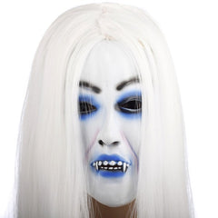 Creepy Toothy Ghost with White Hair Mask