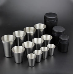 Drinkware Essentials Stainless Steel Cup Set 30ML, 70ML, 150ML with Case