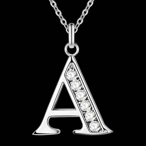 Silver Plated Necklace & Letter Pendant A-S (Unisex) - Plug Fashions