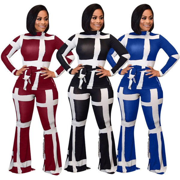 Black, Red, or Blue 2 Piece Outfit S-2XL - Plug Fashions