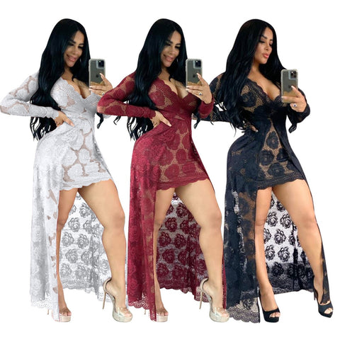 Floral Lace Robe Dress S-2XL (Different Colors Available) - Plug Fashions