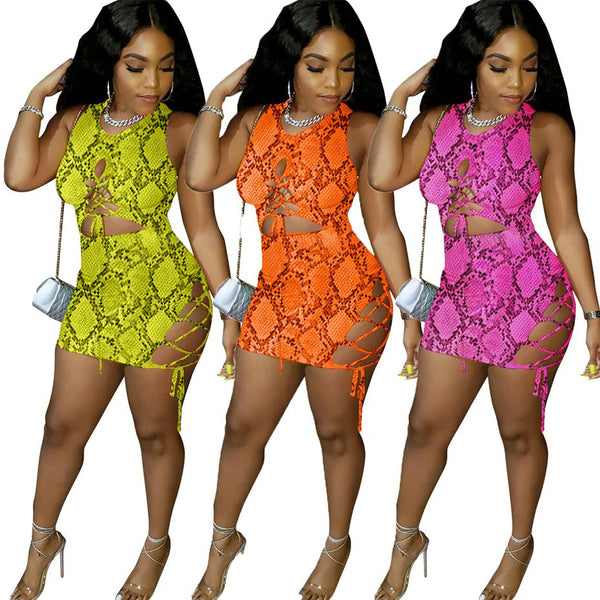 Snake Print Lace Up Mini Dress (Different Colors Available) - Plug Fashions