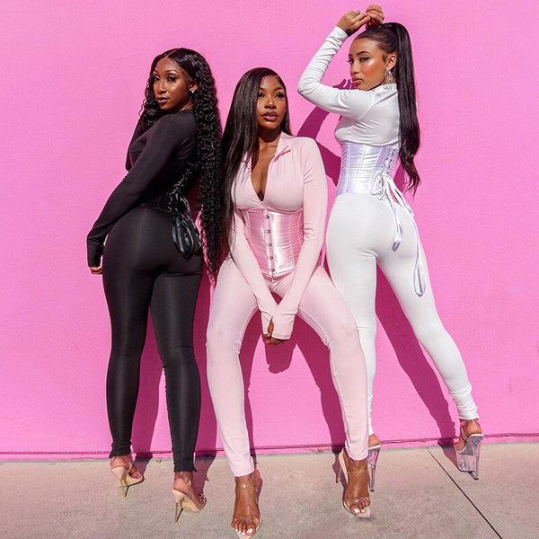 Black, White, or Pink Body Jumpsuit & Corset Girdle - Plug Fashions