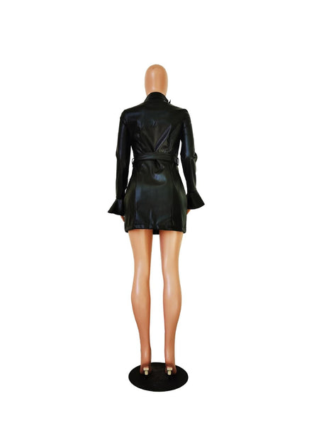 Bodycon Faux Leather Mini Dress With Belt S-2XL - Plug Fashions
